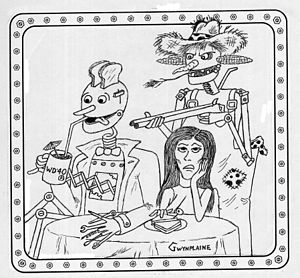 """Ron Goulart - F. Gwynplaine MacIntyre illustrated Ron Goulart's story """"The Robot Who Came to Dinner"""" in Analog (July–August 2002)."""