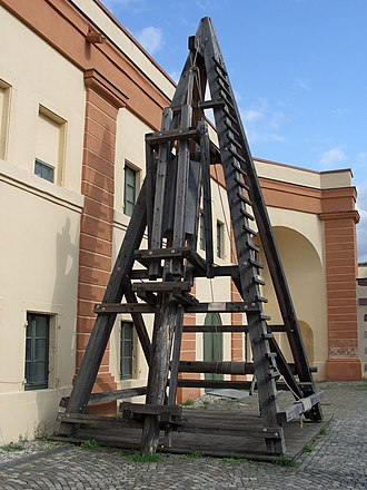 Caesar's Rhine bridges - Reconstruction of a Roman pile driver, used to build the Rhine bridge