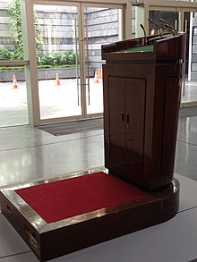 Rosewood rostrum used by Lee Kuan Yew, National Museum of Singapore - 20150406.jpg