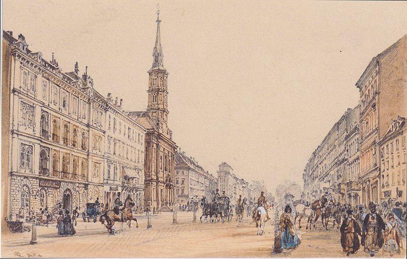 Rudolf von Alt - Die Jägerzeile in Wien - 1844