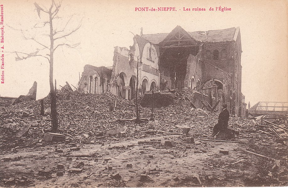 """Ruins of the church of """"Pont de Nieppe"""" in Nieppe France, in the north of the France; picture taken just after WW1"""