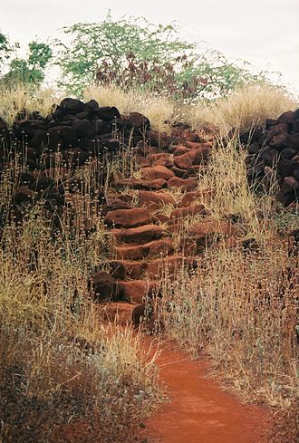 Russian Fort Elizabeth - A staircase that is part of the ruins at Fort Elizabeth