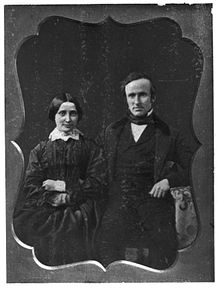 Black-and-white picture of a man and a woman