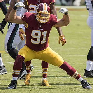 Ryan Kerrigan - Kerrigan celebrating following a sack on Eagles quarterback Carson Wentz in 2017