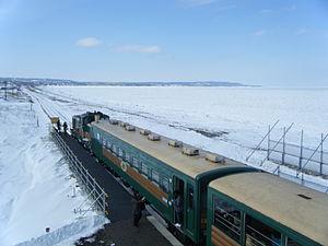 Senmō Main Line - Kitahama station in winter