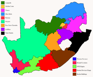 Super Rugby franchise areas - Map of provincial teams and their unions within South Africa.