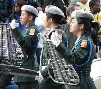 Glockenspiel - Two bell lyres in use