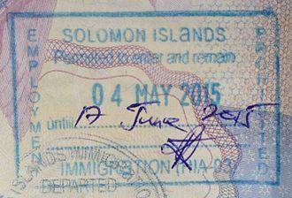 Visa policy of Solomon Islands - Solomon Islands entry stamp