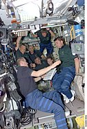 STS-112 crewmembers in the Zvezda Service Module