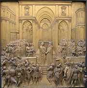 Renaissance relief of the Queen of Sheba meeting Salomo (At the gate of the Florence Baptistry)