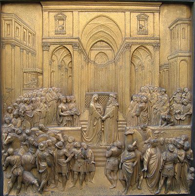 Renaissance relief of the Queen of Sheba meeting Solomon - Ghiberti's Gates of Paradise at the Florence Baptistry Saabaghiberti.jpg