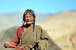 Tibetan woman in September 2009 north of Saga town