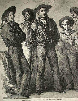 Bell-bottoms - Illustration of sailors in uniform, 1854