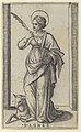 Saint Agnes standing a holding a palm in her right hand, a sheep lower left, from the series 'Piccoli Santi' (Small Saints) MET DP853507.jpg