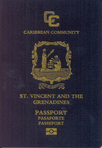 Saint Vincent and the Grenadines passport - The front cover of a contemporary Saint Vincent and the Grenadines machine-readable passport.