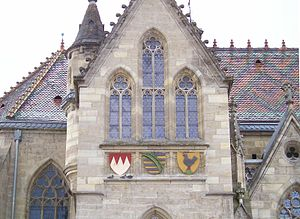 Franconia - The Franconian Rake may be used as an indicator of whether a place is part of Franconia. Here: the vestry of Meiningen's municipal church in South Thuringia. The Franconian Rake may be seen on the left