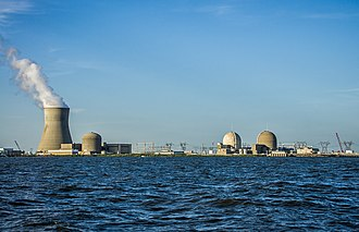 Lower Alloways Creek Township, New Jersey - The Hope Creek (left) and Salem (right) nuclear power plants as seen from the Delaware River