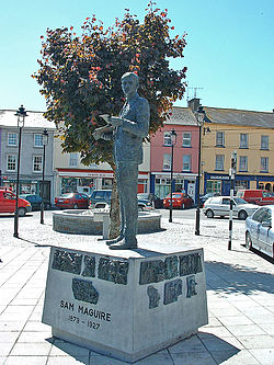 A statue of Sam Maguire in the town square.
