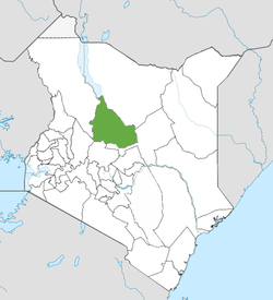 Location of Samburu County (Green)