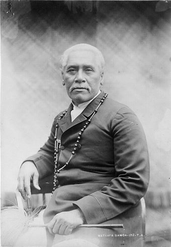 Mata'afa Iosefo (1832-1912) paramount chief and rival for the kingship of Samoa Samoan Paramount chief Mataafa Iosefa, 1896.jpg