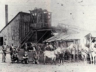 Oskaloosa, Iowa - The Sam Smith coal mine in 1895, located in what is now the 1300 block of High Avenue West.