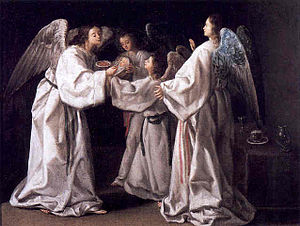 Raymond Nonnatus - Saint Raymund Nonnatus being fed by Angels  by Eugenio Caxés, 1630