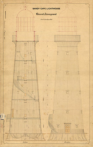 Sandy Cape Light - General arrangement of the tower, 1865