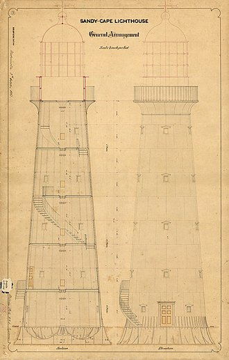 Sandy Cape Light - General arrangement of the tower, 1865