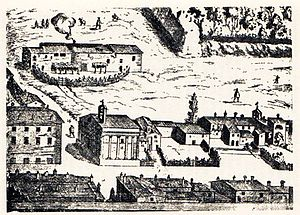 Sant'Anna dei Palafrenieri -  Engraving of 1615, which shows the gabled roof, with the bell tower