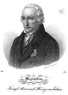 Maximilian von Sachsen, Lithographie von Friedrich August Zimmermann, 1839 (Quelle: Wikimedia)