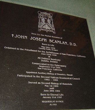 John Joseph Scanlan - Memorial stone above the crypt of Msgr. Scanlan in the sanctuary of the Cathedral of Our Lady of Peace, Honolulu