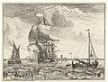 Schepen op de Maas bij Rotterdam Zeegezichten (serietitel), RP-P-BI-206.jpg