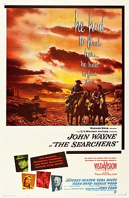 The Searchers, a 1956 film portraying racial conflict in the 1860s SearchersPoster-BillGold.jpg