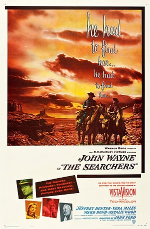 Jack Murray (film editor) - Bill Gold's theatrical poster for The Searchers (1956), which was directed by John Ford and edited by Jack Murray.