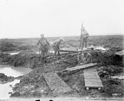 Second Battle of Passchendaele - laying trench mats