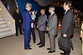 Secretary Kerry receives flowers upon arriving in India for Vibrant Gujarat Summit.jpg
