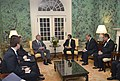Secretary of Defense Chuck Hagel meets with the Sultan of Brunei Hassanal Bolkiah, at the Blair House in Washington, D.C..jpg