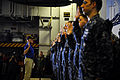 Secretary of the Navy Ray Mabus, left, re-enlists Sailors during an all-hands call aboard the aircraft carrier USS Enterprise (CVN 65) while in the Arabian Sea Aug. 6, 2012 120806-N-FI736-097.jpg