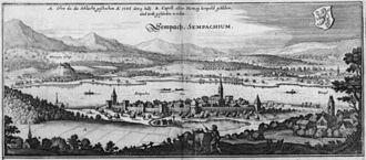 Sempach - A 1654 print of Sempach from Topographia Helvetiae, Rhaetiae et Valesiae