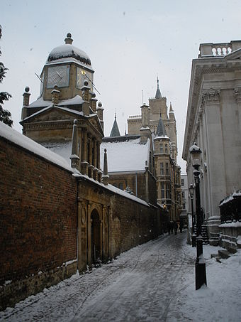 Senate House Passage in the snow with Senate House on the right and Gonville and Caius College on the left Senate House Passage in the snow.JPG