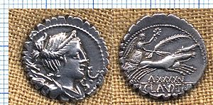 Bigatus - Serratus depicting Diana, with Victory driving a biga