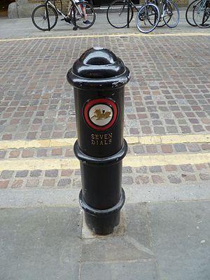 Seven Dials, London - A Seven Dials bollard.