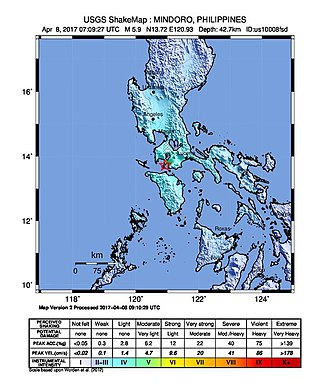 2017 Batangas earthquakes - Shakemap of the strongest earthquake on April 8, 2017 which was prepared by the USGS.