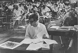 Comprehensive examination - Shimer College students taking a comprehensive exam, 1966.