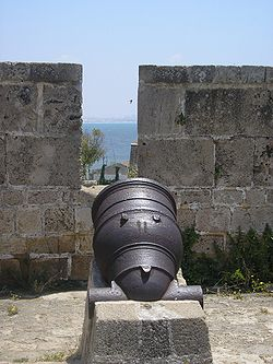 19th century mortar, facing the sea, in the walls of Acre