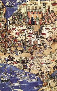 Conquest of Tripoli 1289, painting from the 13th / 14th centuries.  Century, the last Countess Lucia is shown in the upper center of the picture