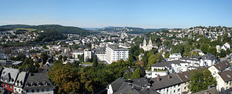 Siegen - A view over Siegen with the university in the background.