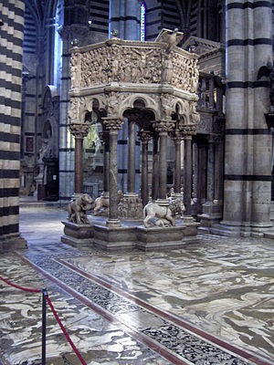 Siena Cathedral Pulpit - Siena Cathedral Pulpit and the mosaic floor