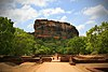 The Sigiriya rock and surrounding gardens