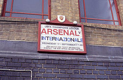 A placard advertising Arsenal's opening match in the Champions League against Inter Milan of Italy.